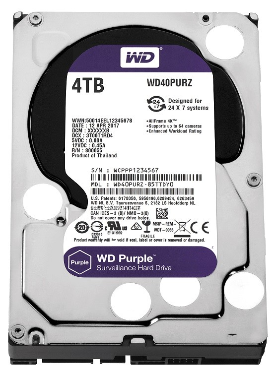 Purple 4TB 3,5'' 64MB  SATAIII/5400rpm