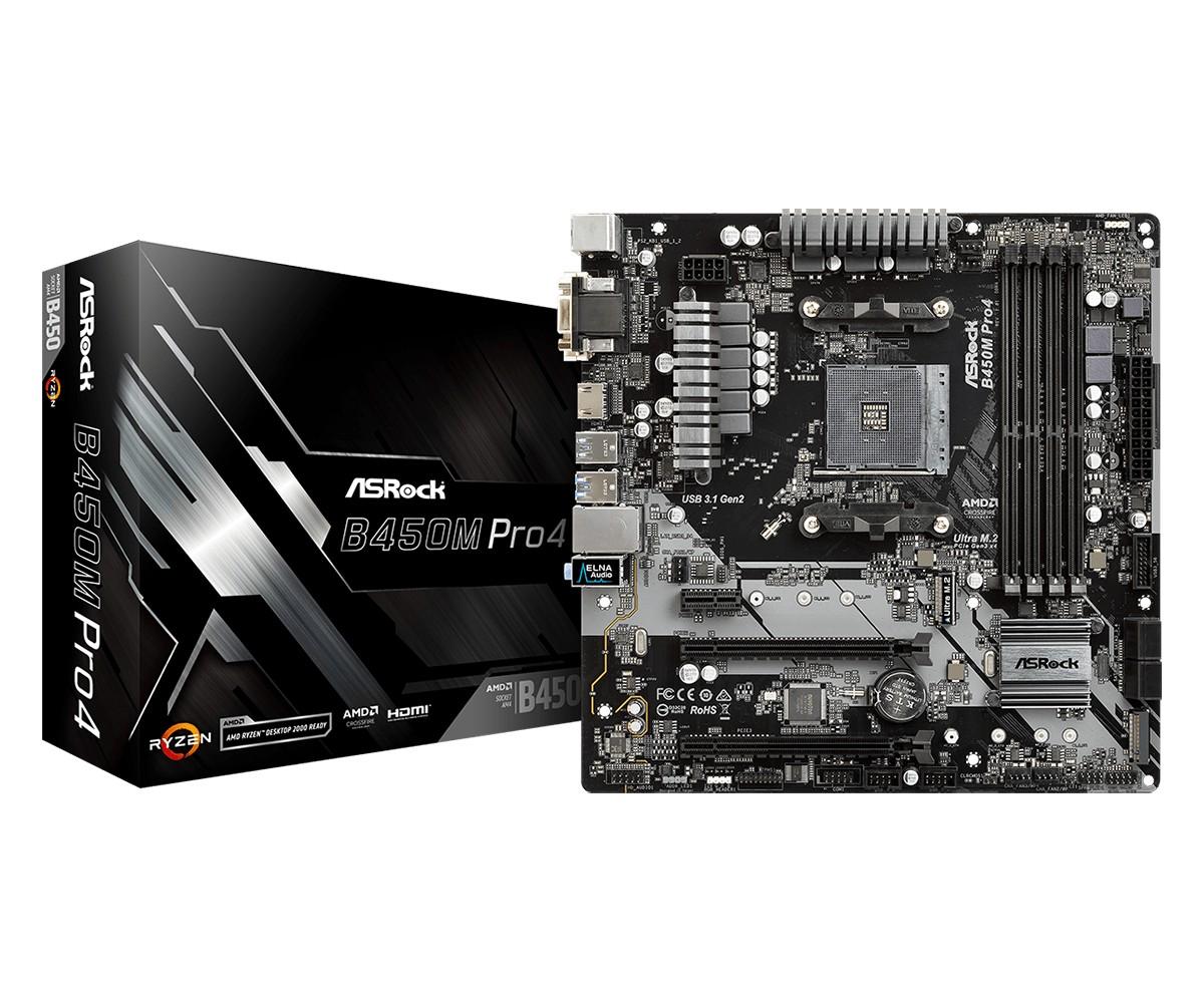 Płyta główna B450M PRO4 AM4 DDR4 HDMI/VGA/DVI M.2 micro ATX