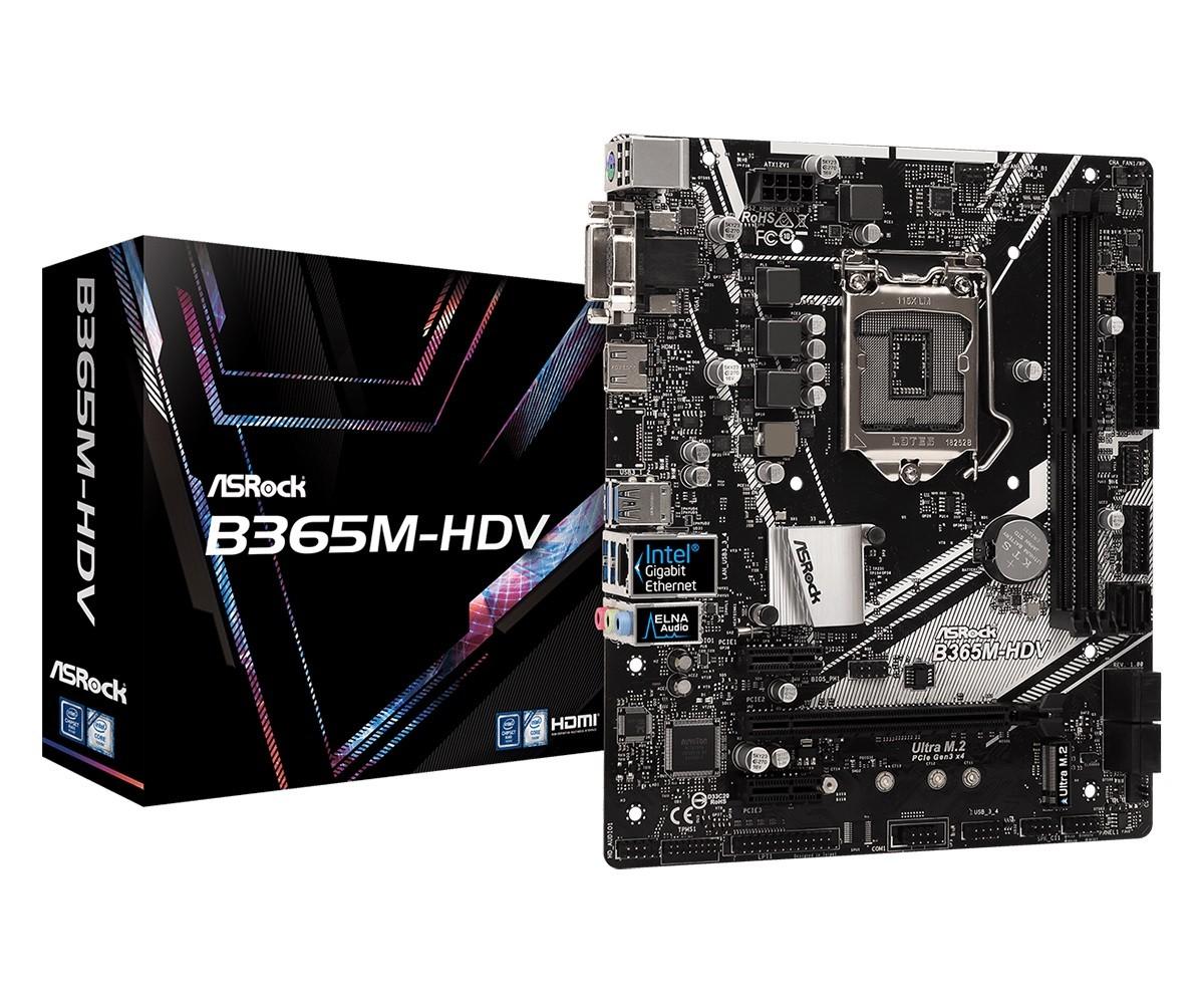 Płyta główna B365M-HDV s1151 4DDR4 HDMI/DVI/D-SUB UATX