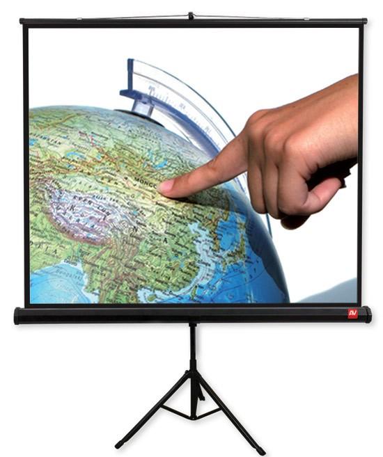 Ekran na statywie Tripod PRO 200, 1:1, 200x200cm, Matt White, czarne ramki