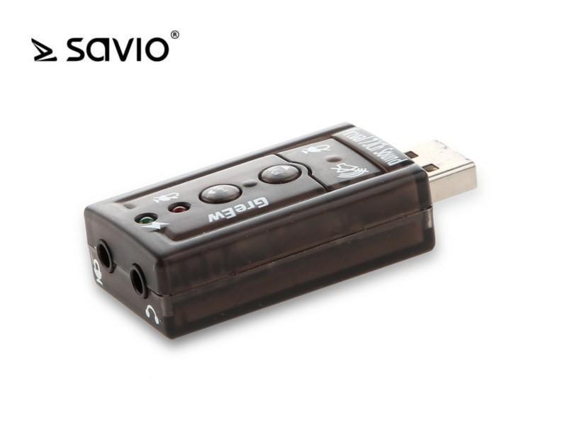 SAVIO AK-01 Karta dźwiękowa USB 7.1, 16bit sound, Plug & Play, blister