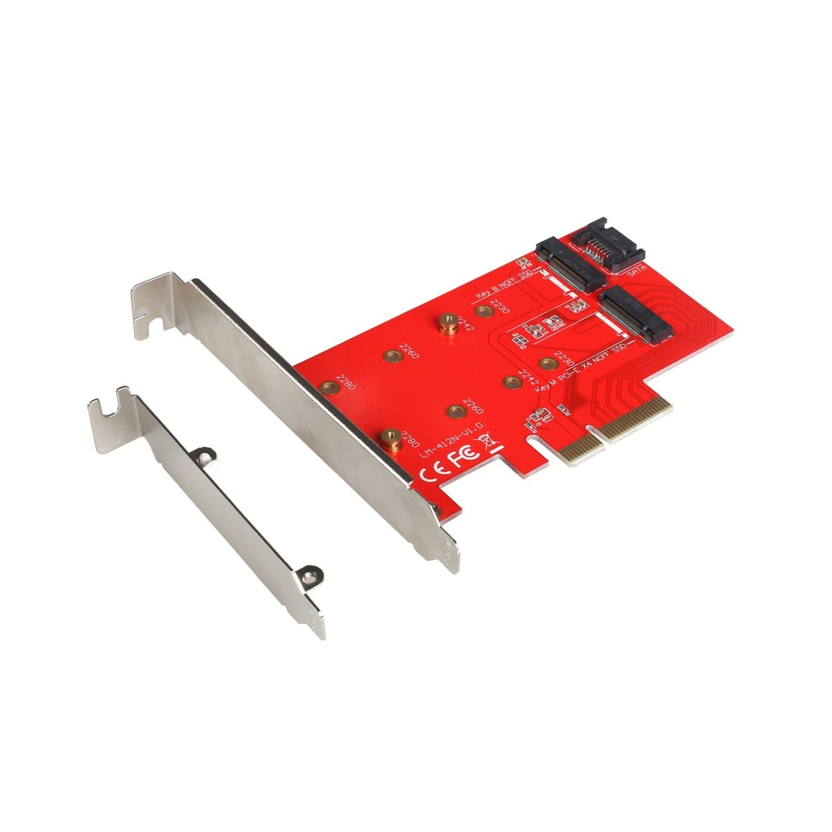 Adapter PCI-E SATA 2x M.2 Card PCI-E/SATA