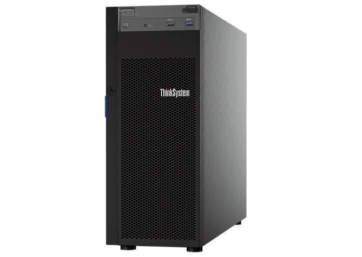 Serwer ThinkSystem ST250 Xeon E-2176G (6C 3.7 GHz /80W), 1x16GB, O/B, 2.5 HS (8), 530-8i, HS 550W, XCC Standard, DVD-RW, Security Door, 7Y45A00TEA