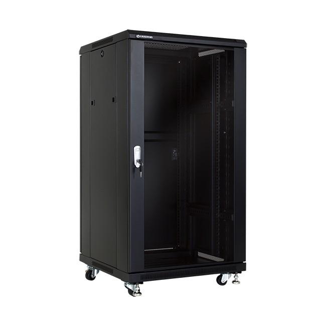 """Szafa stojąca rack 19"""" 22U 600x800mm czarna (drzwi szklane)"""