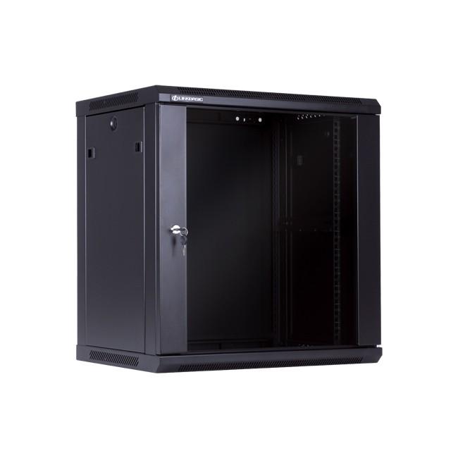 """Szafa wisząca rack 19"""" 12U 600x450mm czarna drzwi szklane"""