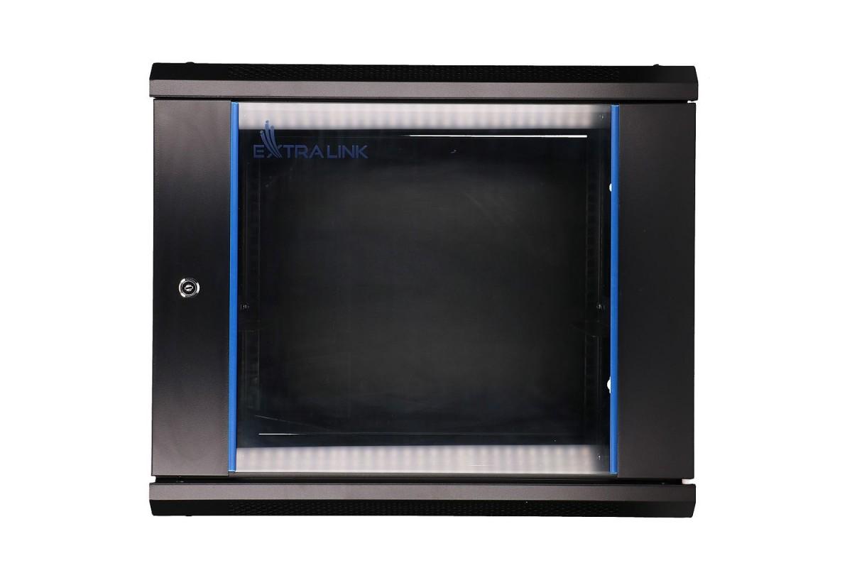 Szafka wisząca rack 9U 600x600 czarna szklane drzwi