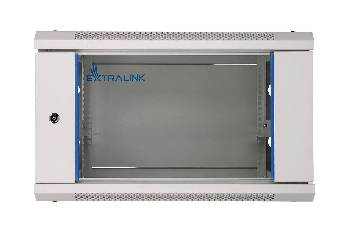 Szafka wisząca rack 4U 600x600 szara szklane drzwi