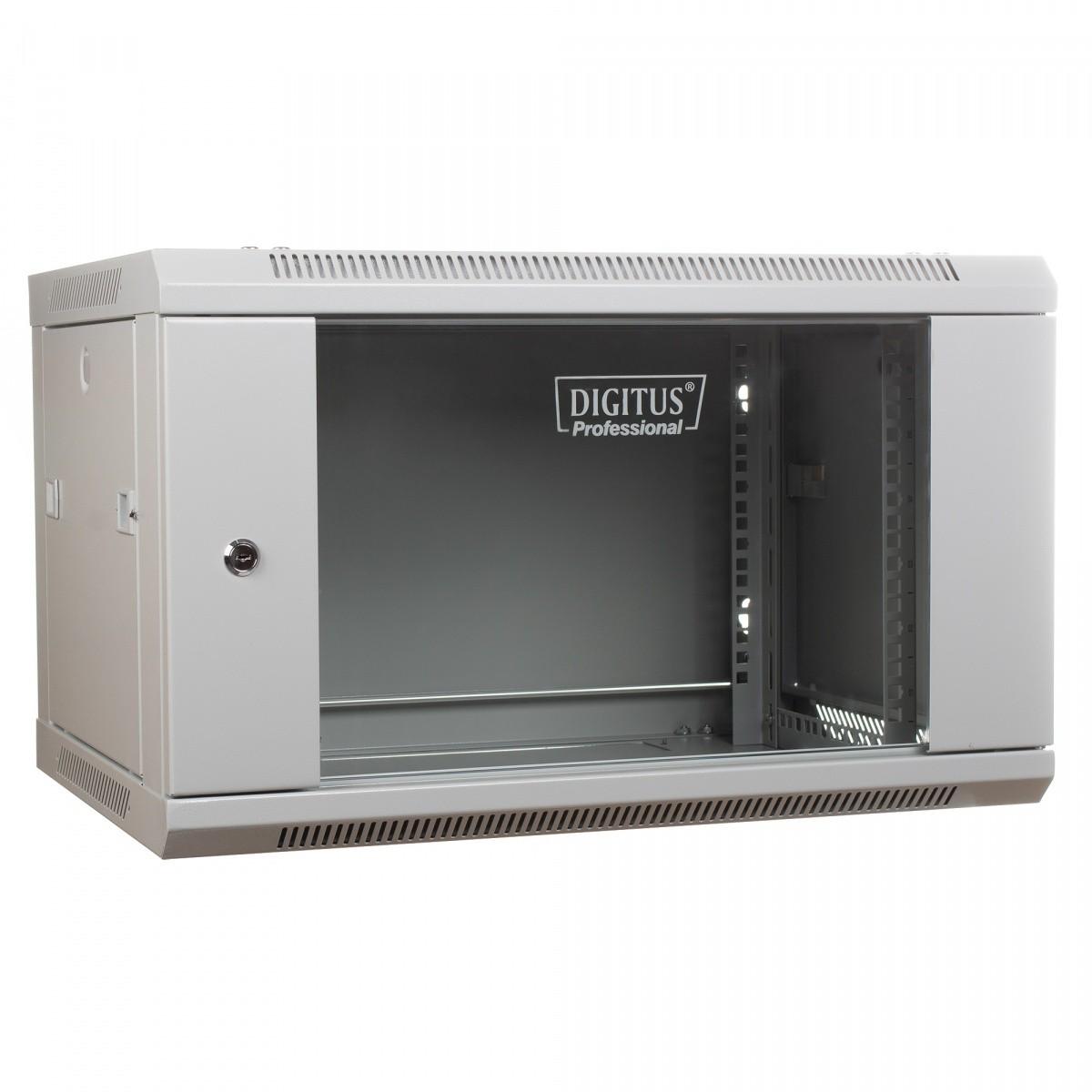 Szafa wisząca jednosekcyjna 19 6U 368/600/450mm, drzwi szklane, szara (RAL 7035)