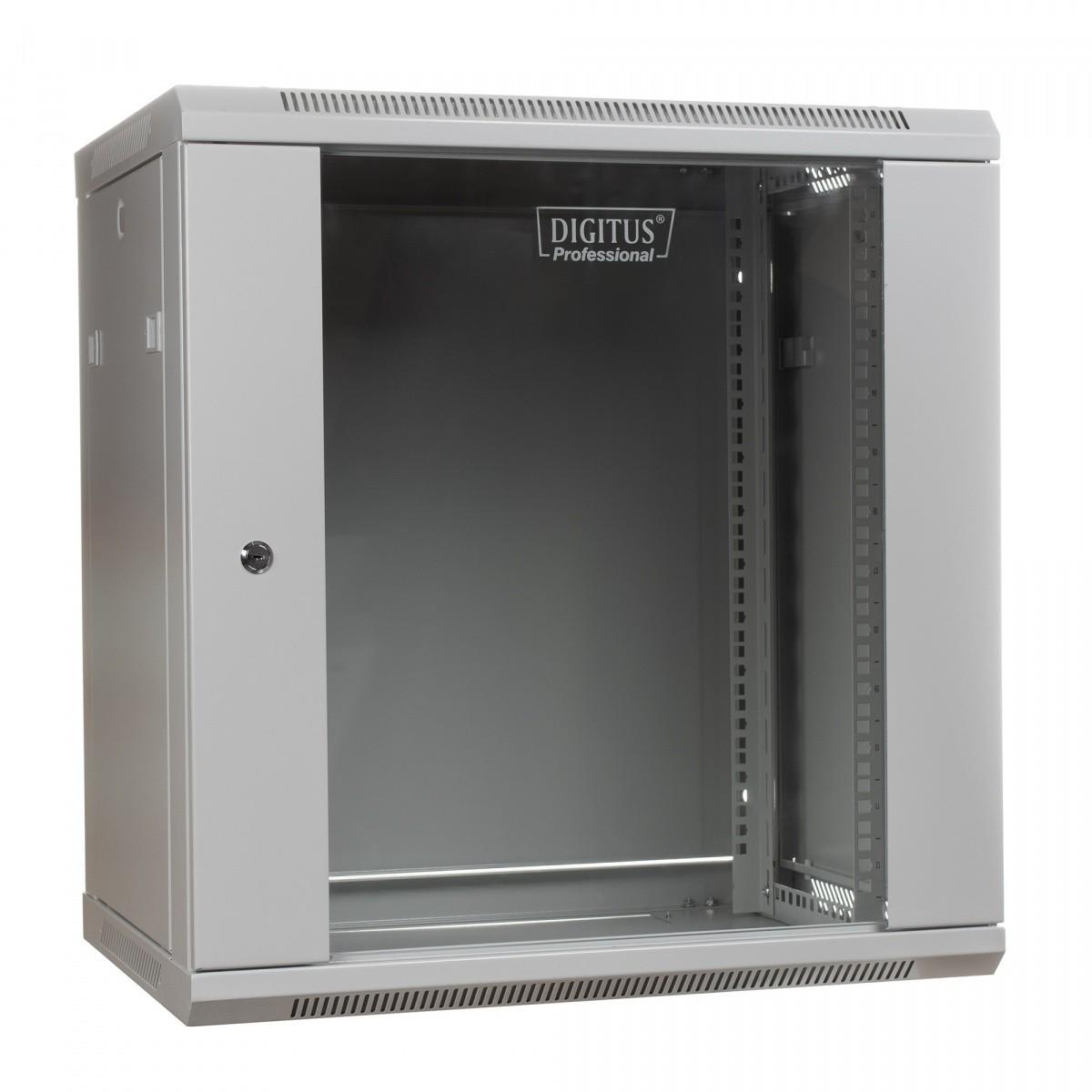 Szafa wisząca jednosekcyjna 19 12U 635/600/600mm, drzwi szklane, szara (RAL 7035)