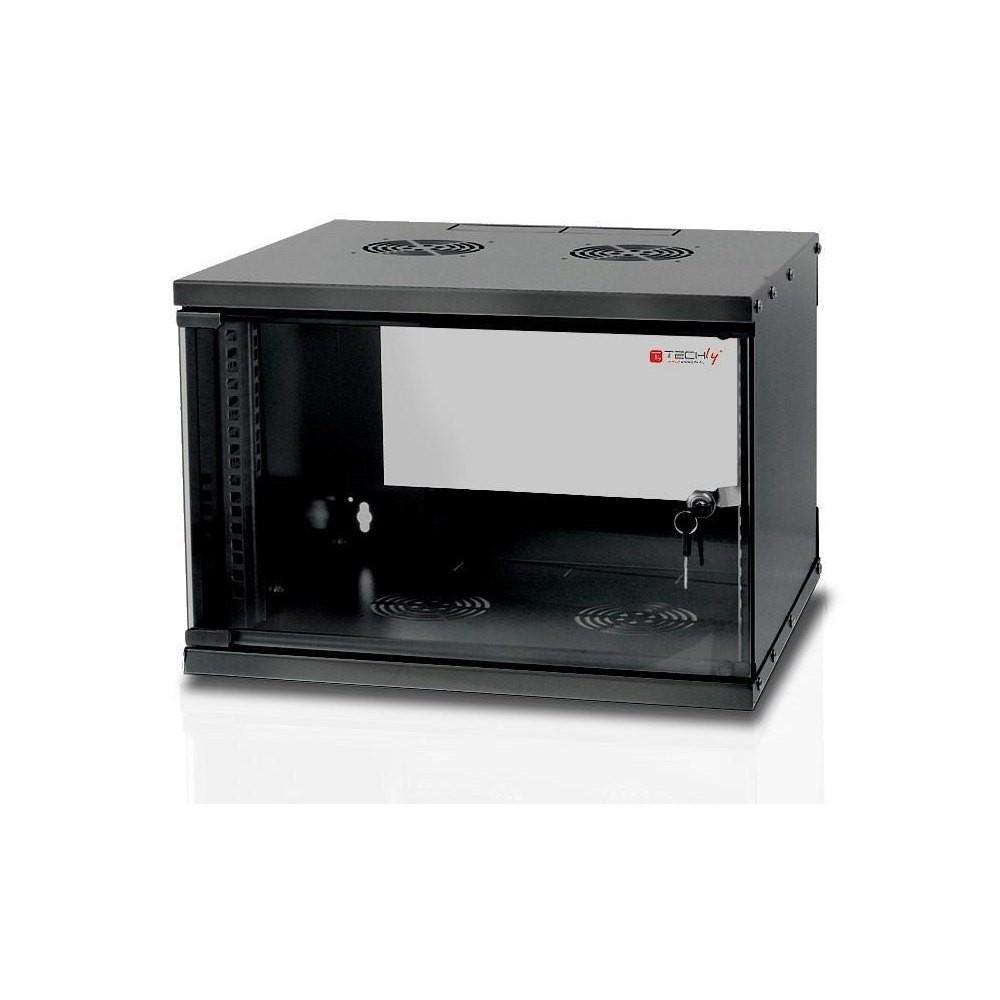 Szafka wisząca ECO 19cali 6U/450mm szklane drzwi zmontowana czarna