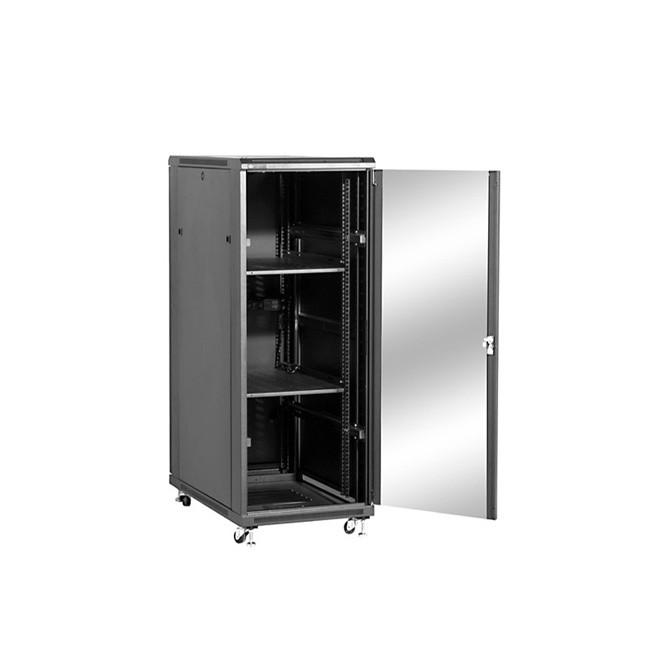 """Szafa stojąca rack 19"""" 32U 600x800mm czarna (drzwi szklane, 4x wentylator, 2x półka, 1x listwa)"""