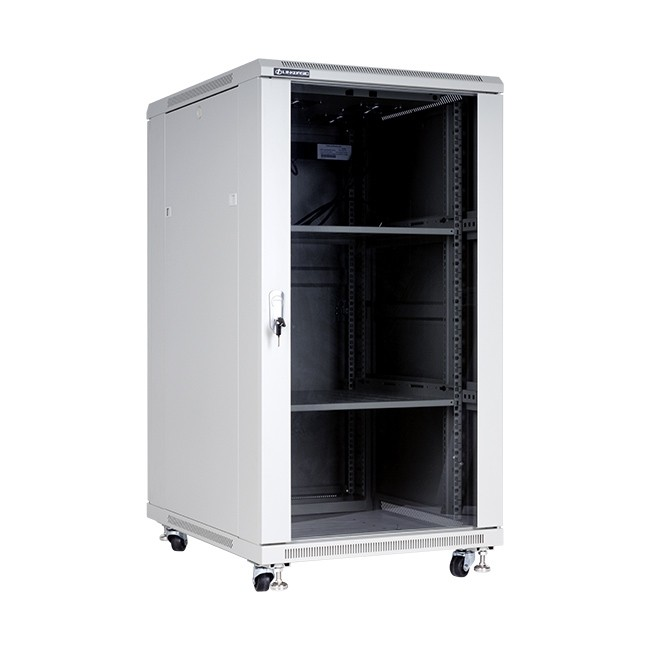 """Szafa stojąca rack 19"""" 22U 600x800mm szara (drzwi szklane)"""