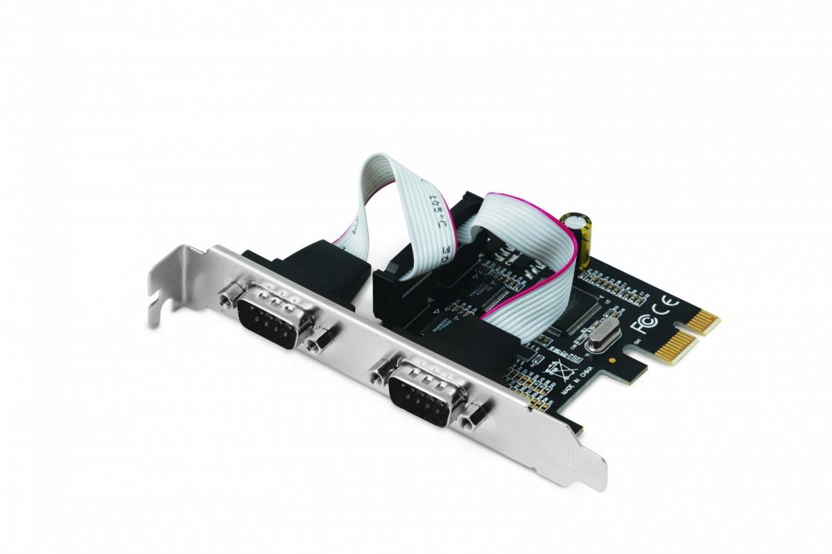 PCI Express Karta z dwoma portami szeregowymi RS232 układ MOSCHIP MCS9901 szybkość transferu do 1,5 Mb/s