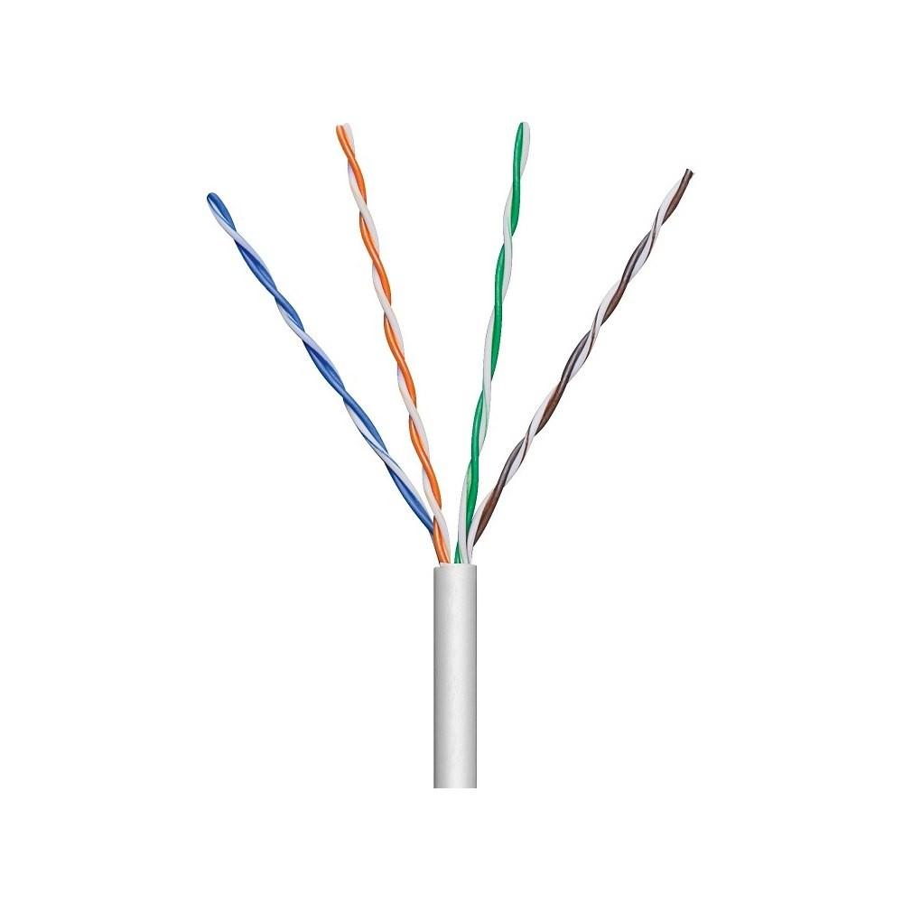 Kabel instalacyjny skrętka U/UTP Cat5e 4x2 linka 100% miedź 305m szary