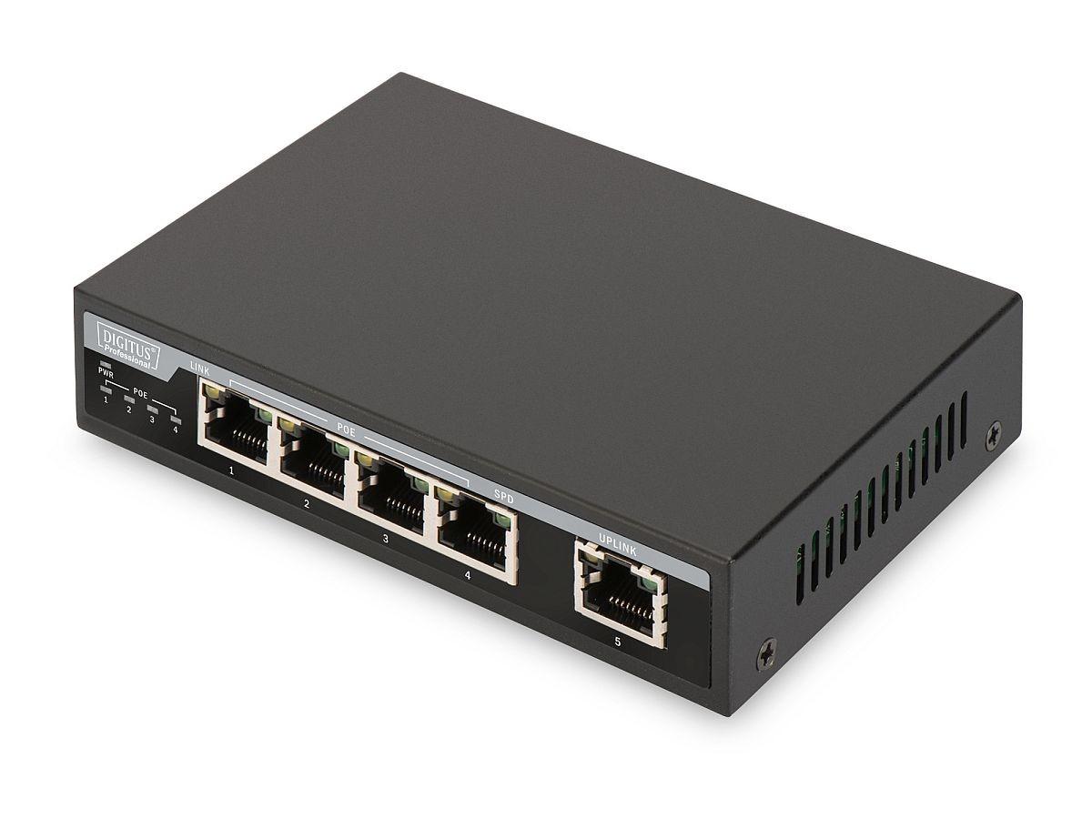 Switch Gigabit Desktop 4-portowy, 4x10/100/1000Mbps PoE+ af/at 62W, 1xUplink, metalowa obudowa