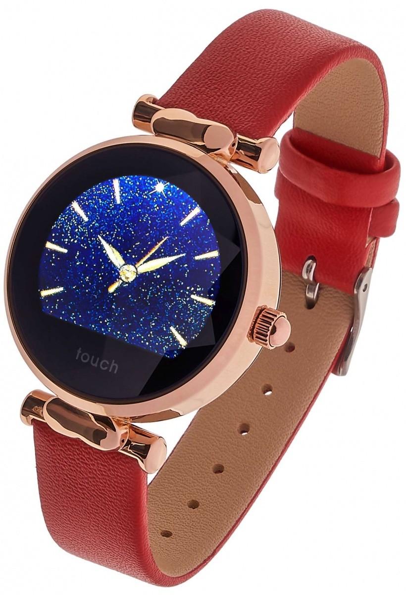 Smartwatch Women Lisa czerwono złoty skóra