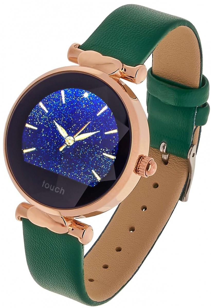 Smartwatch Women Lisa zielono złoty skórzany