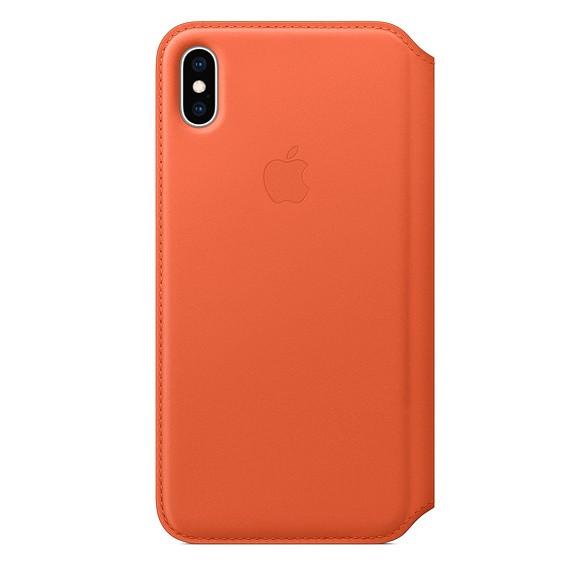 Etui skórzane folio iPhone XS Max - oranż