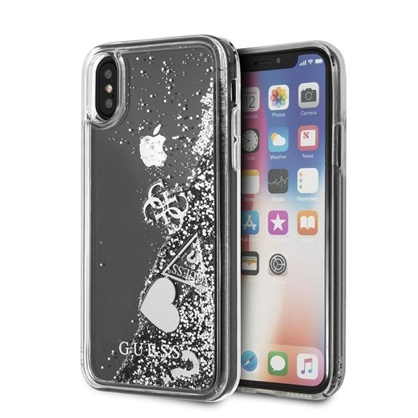 Etui Hardcase iPhone X/Xs srebrne Glitter Hearts