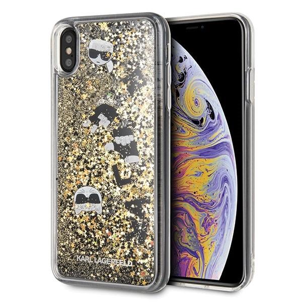 Etui hardcase iPhone Xs Max KLHCI65ROGO czarno-złoty Glitter