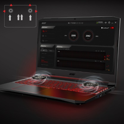 Acer Nitro  5  15,6 cala FHD/Ryzen 5 3550H/8GB/512GB SSD/GTX 1650/noOS/2Y/BL KB – gra na ekranie laptopa -wentylatory laptopa