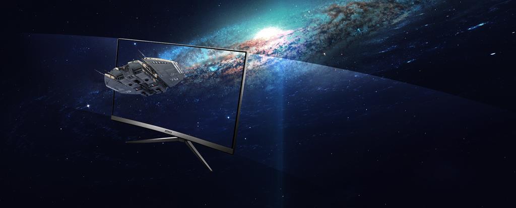 Statek kosmiczny na ekranie monitora MSI