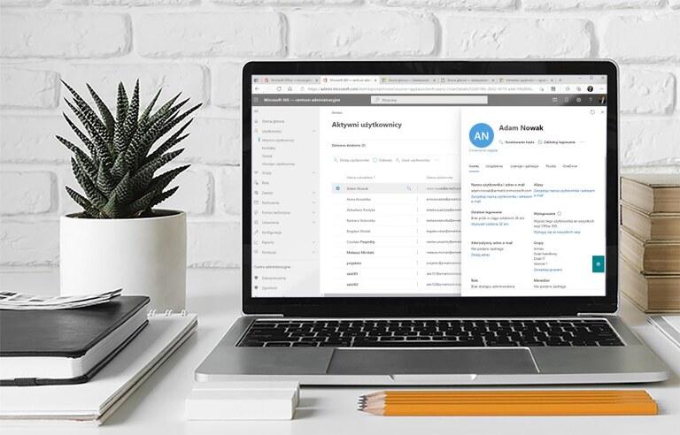 Centrum administracyjne Microsoft 365 - zarządzanie użytkownikami