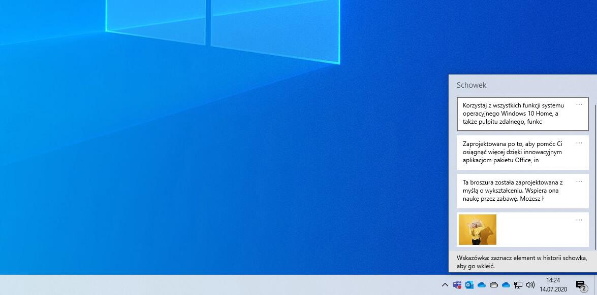Schowek w chmurze w Windows 10