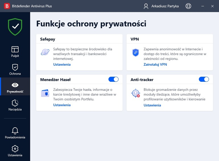 Bitdefender Antivirus Plus - prywatność