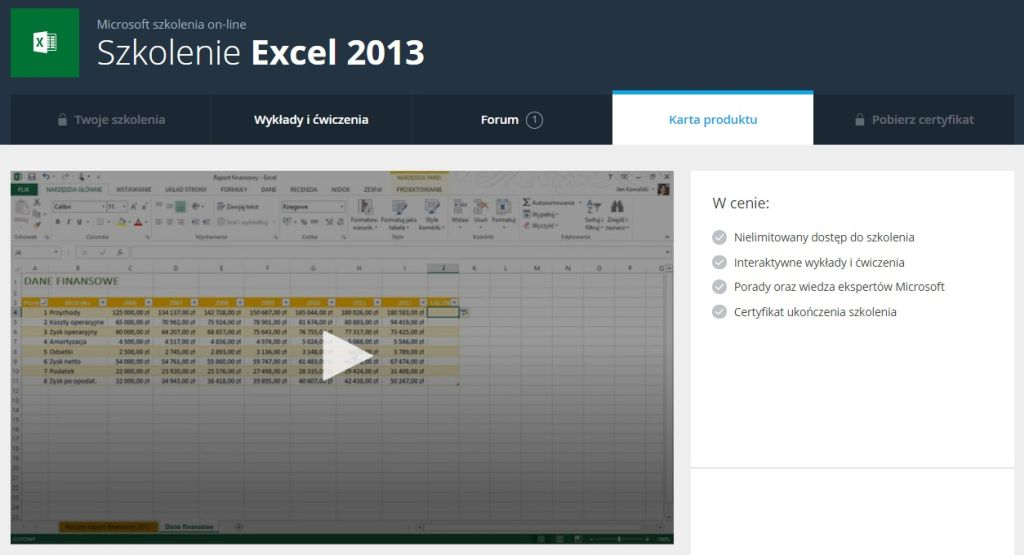 Excel 2013 Karta produktu