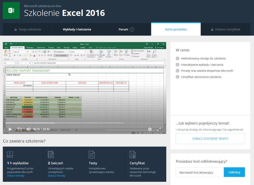 Szkolenie Excel 2016