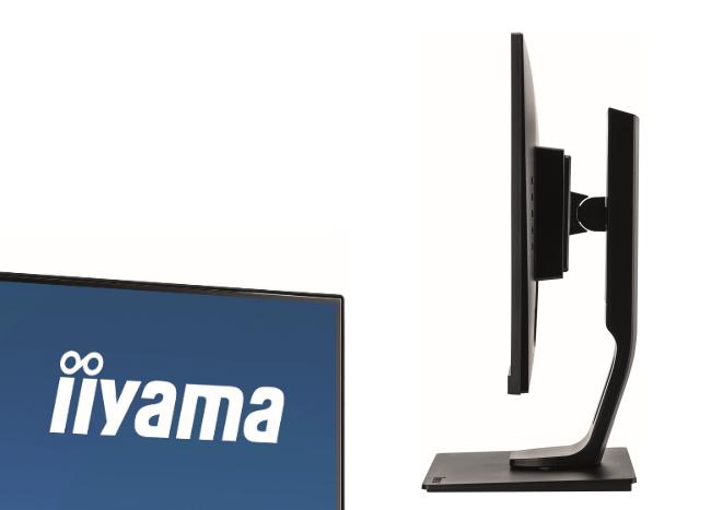 iiyama XUB2493HSU-B1 – krawędź ekranu z cienką ramką i widok monitora z boku