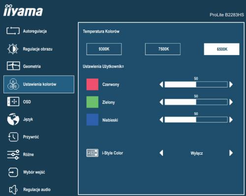 Panel ustawień monitora iiama