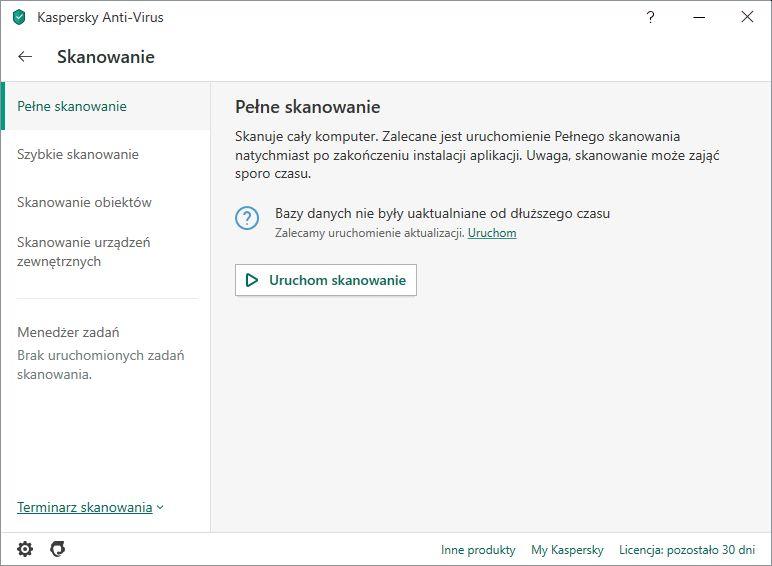 Kaspersky przegląd skanowania