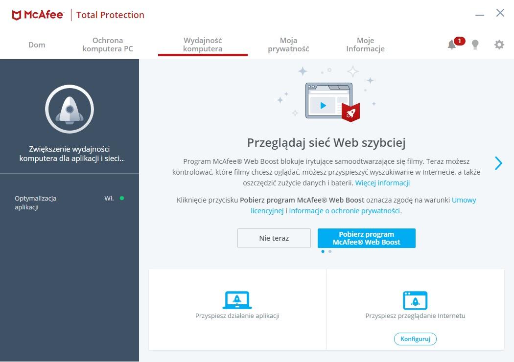 McAfee Total Protection - Wydajność komputera