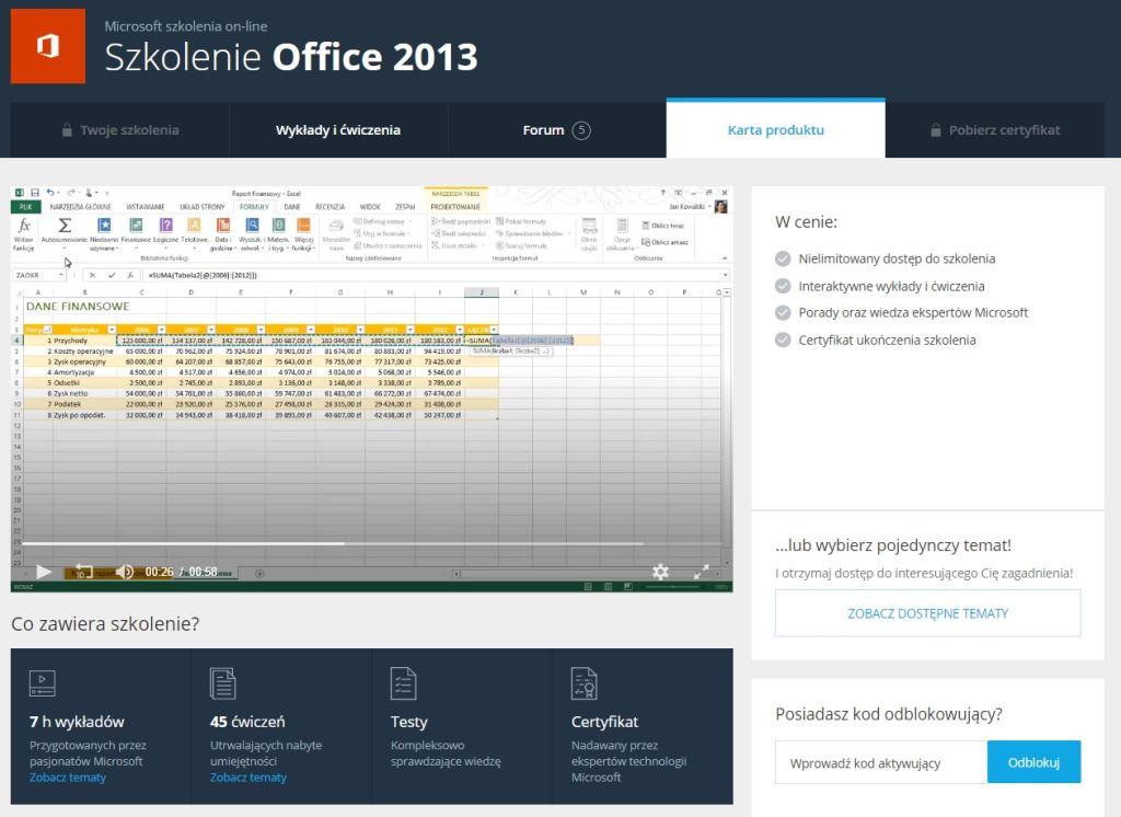 Akademia Office 2013 Karta produktu