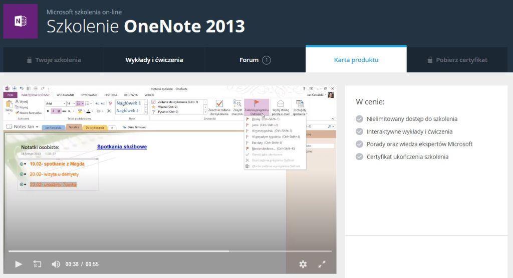 OneNote 2013 Karta produktu