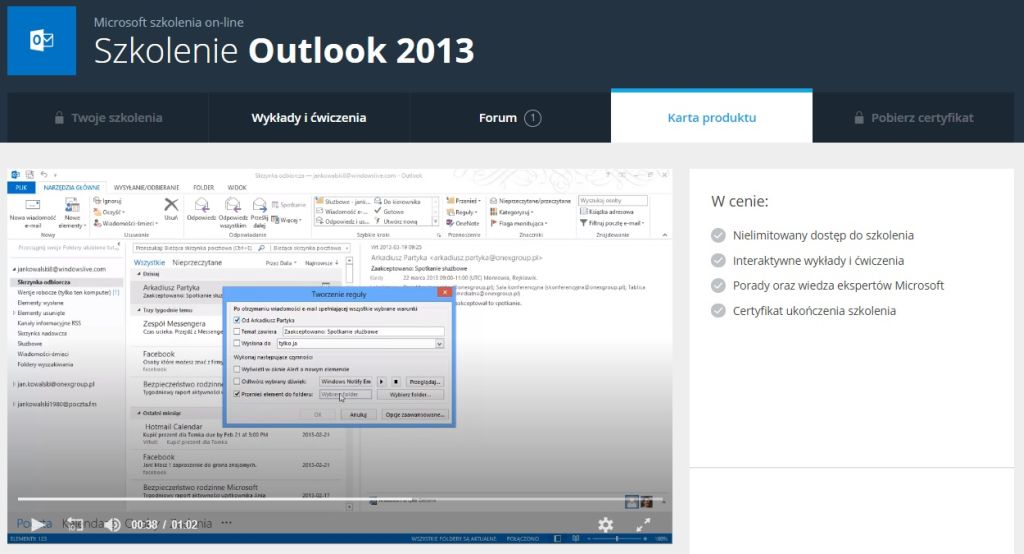 Outlook 2013 Karta produktu