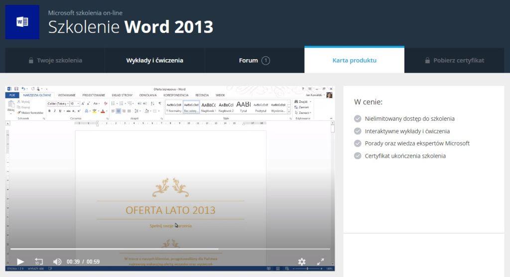 Word 2013 Karta produktu